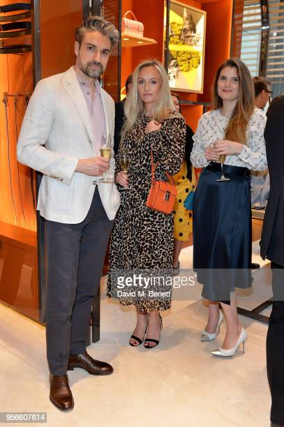 Paul Croughton SarahAnn Murray and Alexandra Zaglasky attend the launch party of Moynat at Selfridges on May 9 2018 in London England