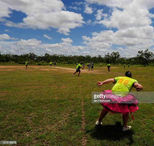 Paul Crow from the team 'Kegs On Legs XI' fileds the ball during the 2012 Goldfield Ashes cricket competition on January 22 2012 in Charters Towers...