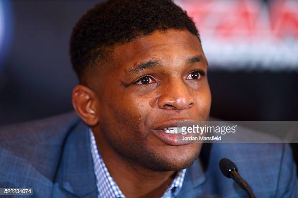 Paul Daley speaks during the Bellator 158 MMA Press Conference at the Four Seasons Hotel on April 18 2016 in London England