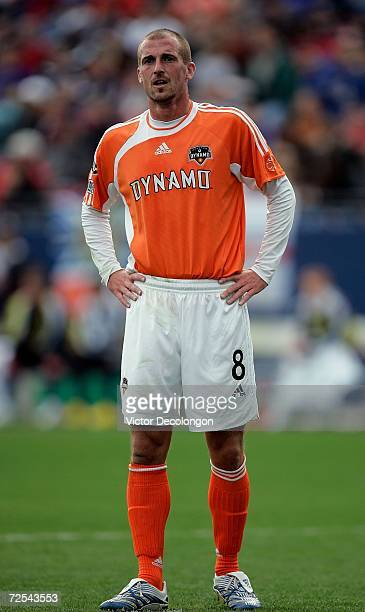 Paul Dalglish of the Houston Dynamo looks on during a break in game action against the New England Revolution during the 2006 MLS Cup at Pizza Hut...