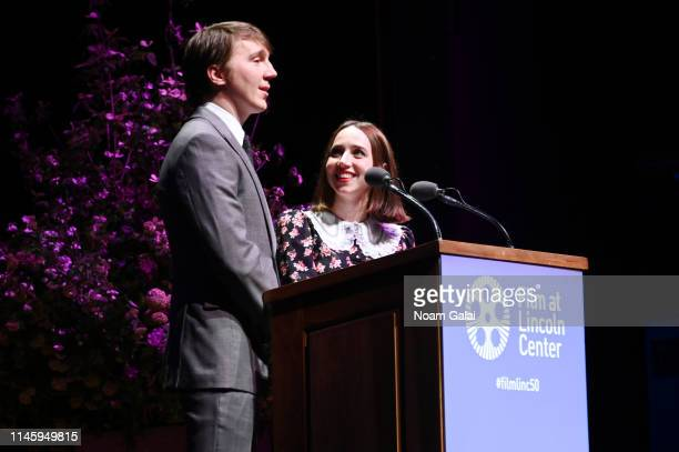 Paul Dano and Zoe Kazan speak onstage during the Film Society Of Lincoln Center's 50th Anniversary Gala at Lincoln Center on April 29 2019 in New...