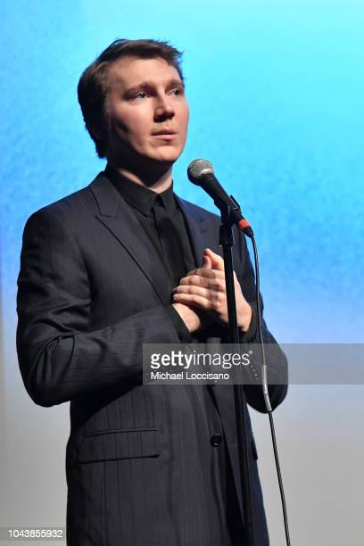 Paul Dano speaks at the Wildlife premiere during the 56th New York Film Festival at Alice Tully Hall Lincoln Center on September 30 2018 in New York...