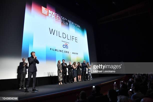 Paul Dano speaks onstage with NYFF's Kent Jones Carey Mulligan Jake Gyllenhaal David Lang Riva Marker Alex Saks Oren Moverman and Zoe Kazan at the...