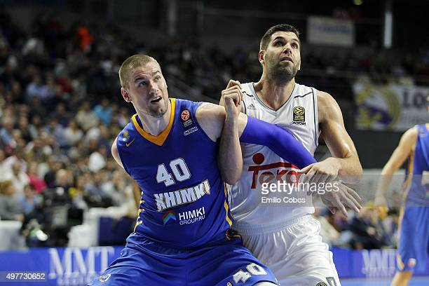 Paul Davis #40 of Khimki Moscow Region competes with Felipe Reyes #9 of Real Madrid during the Turkish Airlines Euroleague Regular Season Round 6...