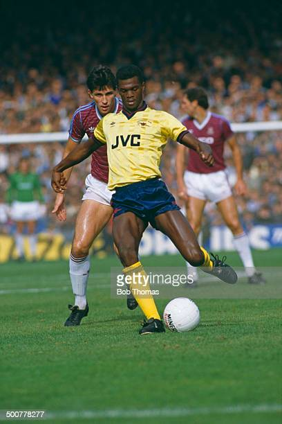 Paul Davis of Arsenal and Tony Gale of West Ham United in action during an English Division One match at Upton Park London 12th October 1985 The...