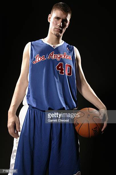 Paul Davis of the Los Angeles Clippers poses for a photo during the 2006 NBA Rookie Photo Shoot on August 14 2006 at the MSG Training Facility in...