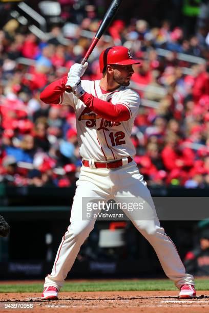Paul DeJong of the St Louis Cardinals bats against the Arizona Diamondbacks at Busch Stadium on April 7 2018 in St Louis Missouri