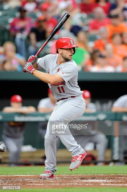 Paul DeJong of the St Louis Cardinals bats against the Baltimore Orioles at Oriole Park at Camden Yards on June 16 2017 in Baltimore Maryland