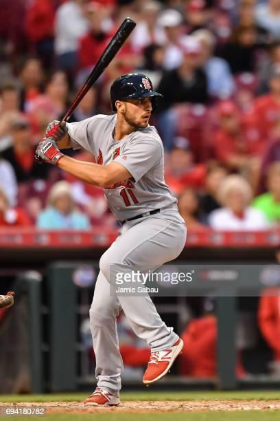 Paul DeJong of the St Louis Cardinals bats against the Cincinnati Reds at Great American Ball Park on June 7 2017 in Cincinnati Ohio