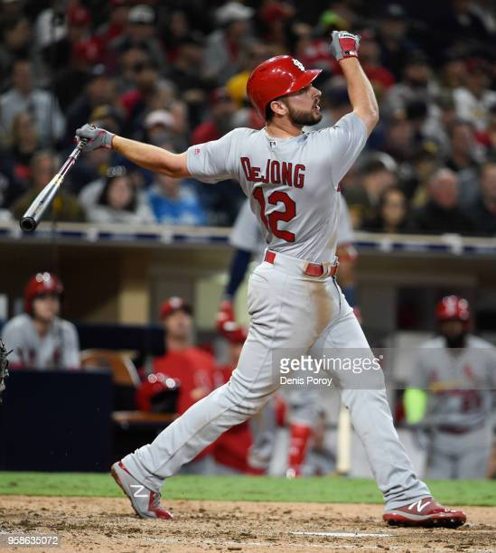 Paul DeJong of the St Louis Cardinals bats against the San Diego Padres at PETCO Park on May 12 2018 in San Diego California Paul DeJong
