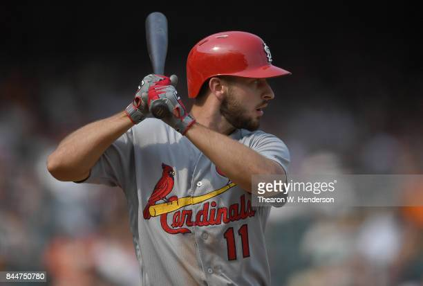 Paul DeJong of the St Louis Cardinals bats against the San Francisco Giants in the top of the ninth inning at ATT Park on September 3 2017 in San...