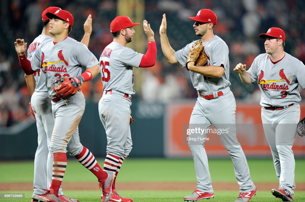 Paul DeJong #11 of the St. Louis Cardinals celebrates with teammates after a 11-2 victory against the Baltimore Orioles at Oriole Park at Camden Yards on June 16, 2017 in Baltimore, Maryland.