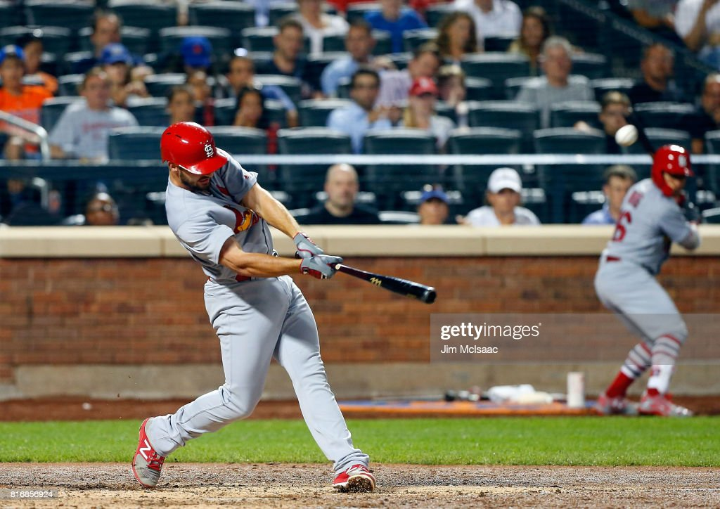 Paul DeJong #11 of the St. Louis Cardinals connects on a sixth inning two run home run against the New York Mets on July 17, 2017 at Citi Field in the Flushing neighborhood of the Queens borough of New York City.