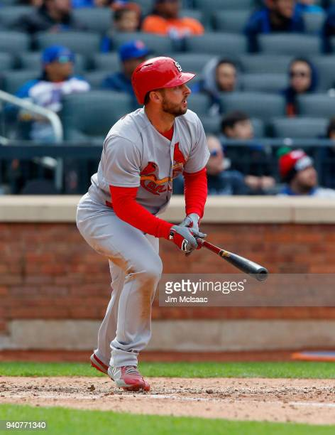Paul DeJong of the St Louis Cardinals follows through on an eighth inning home run against the New York Mets at Citi Field on April 1 2018 in the...