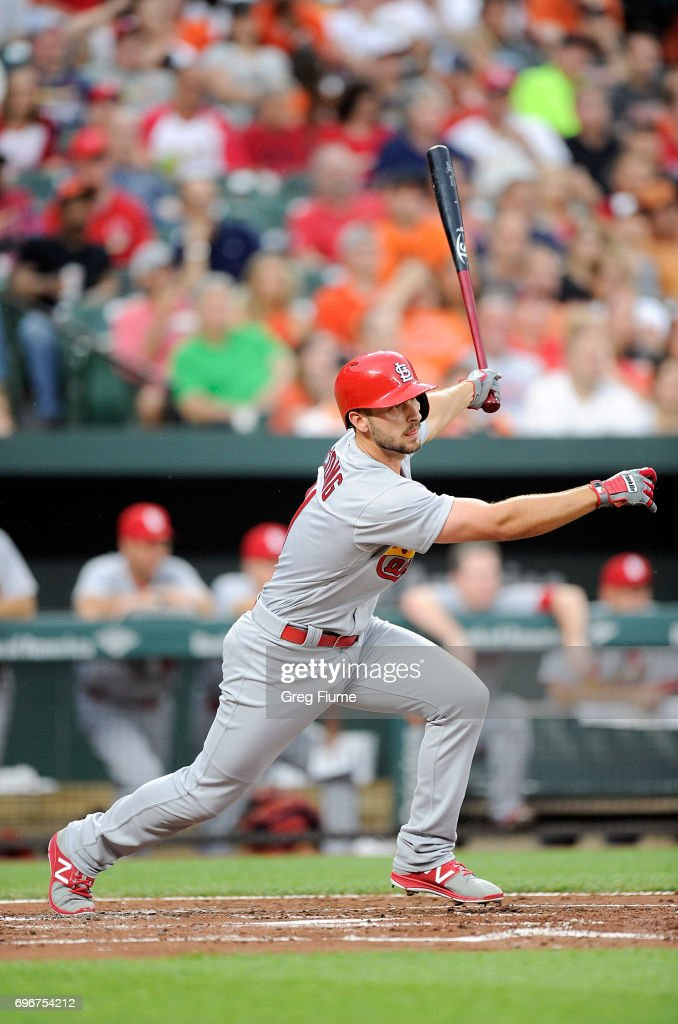 Paul DeJong #11 of the St. Louis Cardinals hits a single in the third inning against the Baltimore Orioles at Oriole Park at Camden Yards on June 16, 2017 in Baltimore, Maryland.