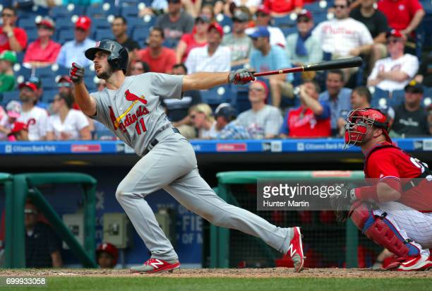 Paul DeJong of the St Louis Cardinals hits a solo home run in the eighth inning during a game against the Philadelphia Phillies at Citizens Bank Park...