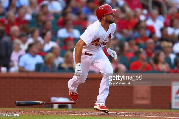 Paul DeJong of the St Louis Cardinals hits a tworun home run against the Colorado Rockies in the first inning at Busch Stadium on July 25 2017 in St...