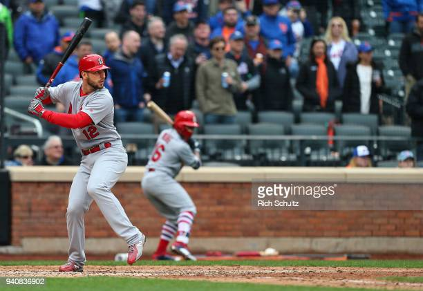 Paul DeJong of the St Louis Cardinals in action during a game against the New York Mets at Citi Field on March 29 2018 in the Flushing neighborhood...