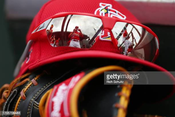 Paul DeJong of the St Louis Cardinals is reflected in a pair of sunglasses during the fourth inning of a spring training baseball game against the...