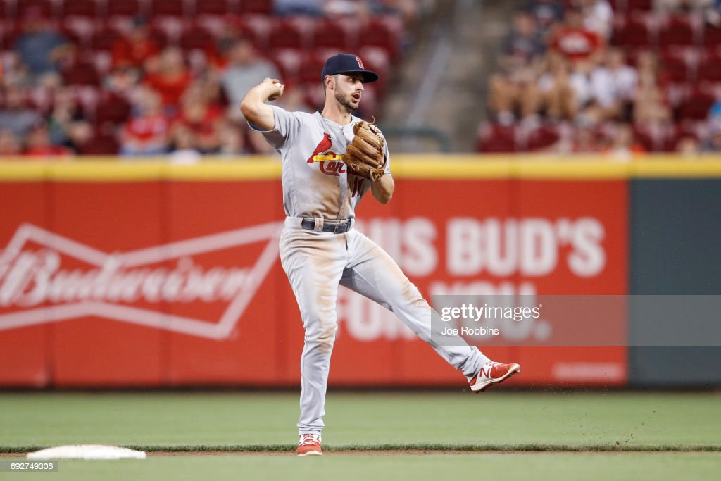 Paul DeJong #11 of the St. Louis Cardinals makes a play in the eighth inning of a game against the Cincinnati Reds at Great American Ball Park on June 5, 2017 in Cincinnati, Ohio. The Reds defeated the Cardinals 4-2.