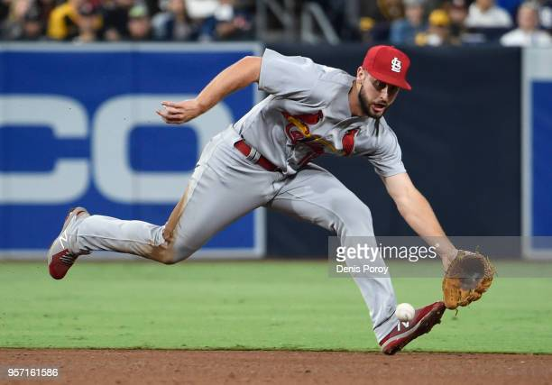 Paul DeJong of the St Louis Cardinals makes the stop on a ball off the bat of Freddy Galvis of the San Diego Padres in the fifth inning at PETCO Park...