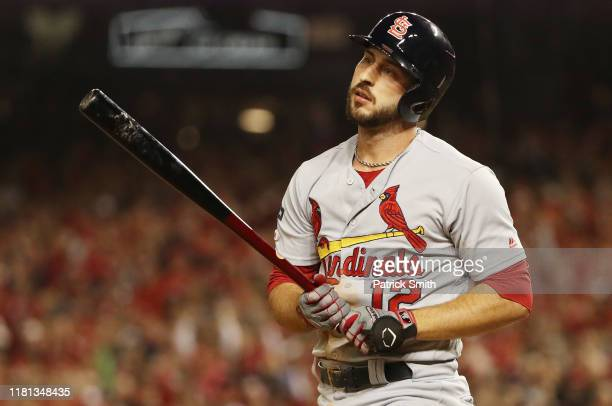 Paul DeJong of the St. Louis Cardinals reacts after striking out in the second inning against the Washington Nationals during game four of the...