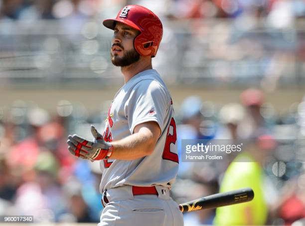 Paul DeJong of the St Louis Cardinals reacts to striking out against the Minnesota Twins during the interleague game on May 16 2018 at Target Field...