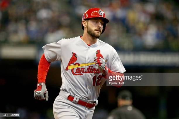 Paul DeJong of the St Louis Cardinals rounds the bases after hitting a home run in the sixth inning against the Milwaukee Brewers at Miller Park on...