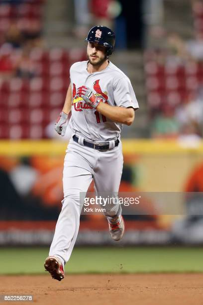 Paul DeJong of the St Louis Cardinals runs the bases after hitting a home run during the game against the Cincinnati Reds at Great American Ball Park...