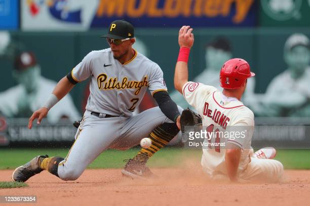 Paul DeJong of the St. Louis Cardinals steals second base against Erik Gonzalez of the Pittsburgh Pirates in the seventh inning at Busch Stadium on...