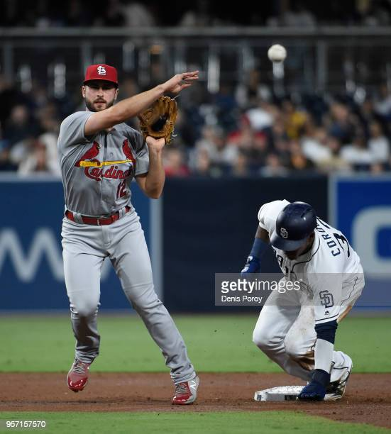 Paul DeJong of the St Louis Cardinals throws over Franchy Cordero of the San Diego Padres but can't turn a double play during the second inning of a...