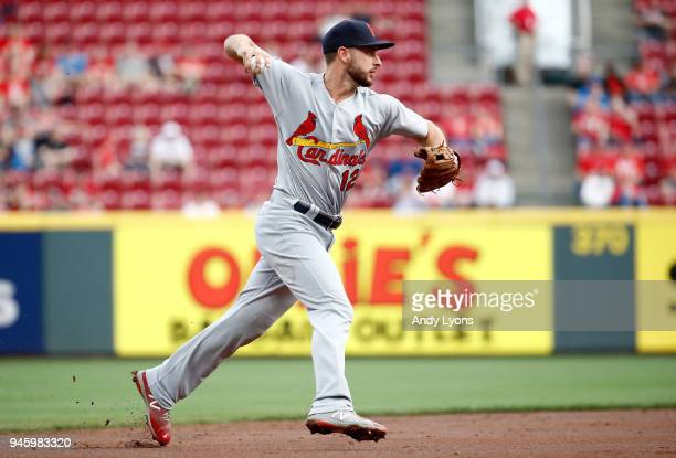 Paul DeJong of the St Louis Cardinals throws the bal to first base against the Cincinnati Reds at Great American Ball Park on April 13 2018 in...