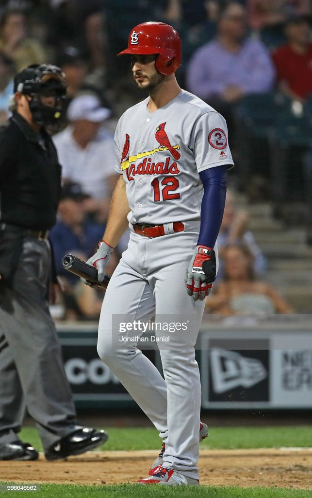 Paul DeJong #12 of the St. Louis Cardinals walks back to the dugout after striking out in the 5th inning against the Chicago White Sox at Guaranteed Rate Field on July 11, 2018 in Chicago, Illinois.
