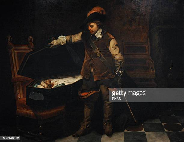 Paul Delaroche French painter Cromwell before the coffin of Charles I 1849 Oil on canvas Hermitage Museum St Petersburg Russia