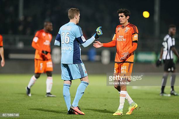 Paul Delecroix of Lorient and Francois Bellugou of Lorient during the Ligue 1 match between Angers SCO and FC Lorient on December 3 2016 in Angers...