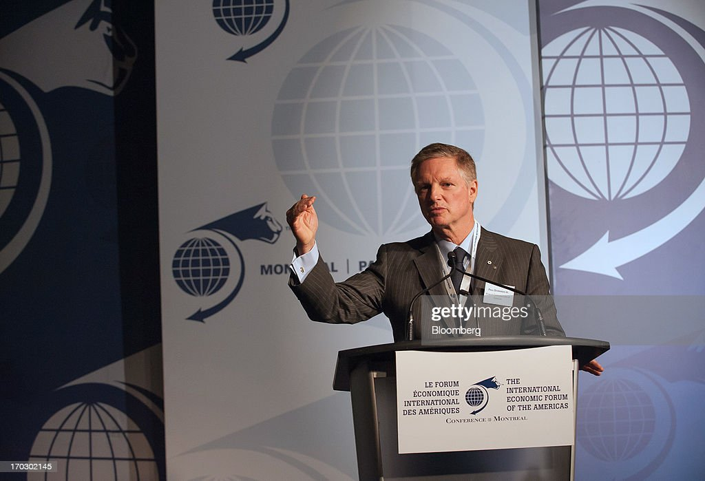 Paul Desmarais Jr., chairman and co-chief executive officer of the Power Corporation of Canada (PCC), speaks during the International Economic Forum Of The Americas' Conference Of Montreal in Montreal, Quebec, Canada, on Monday, June 10, 2013. The Conference of Montreal brings together Heads of State, the private sector, international organizations and civil society to discuss major issues concerning economic globalization, focusing on the relations between the Americas and other continents. Photographer: David Vilder/Bloomberg via Getty Images