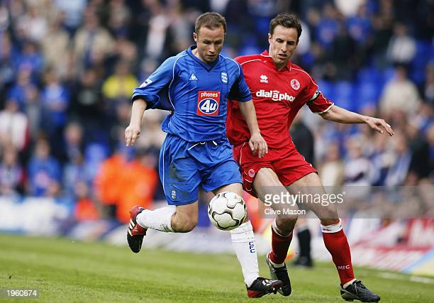 Paul Devlin of Birmingham City holds the ball up against Gareth Southgate of Middlesbrough during the FA Barclaycard Premiership match held on April...