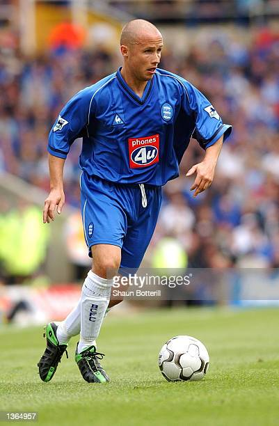 Paul Devlin of Birmingham City on the ball during the FA Barclaycard Premiership match between Birmingham City and Leeds United at St Andrews in...
