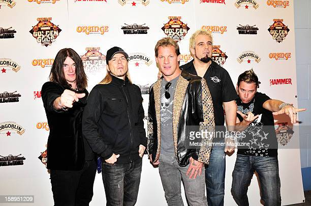 Paul Di Leo, Rich Ward, Chris Jericho, Frank Fontsere and Billy Grey of American hard rock band Fozzy, photographed at the Metal Hammer Golden Gods...