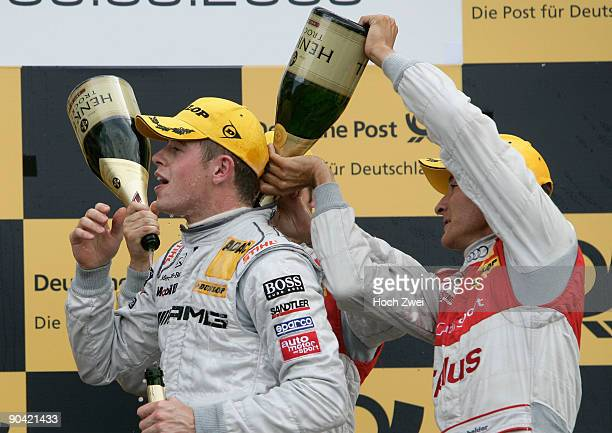 Paul Di Resta of Great Britain and AMG Mercedes celebrates winning the DTM 2009 German Touring Car Championship race at Brands Hatch on September 6,...