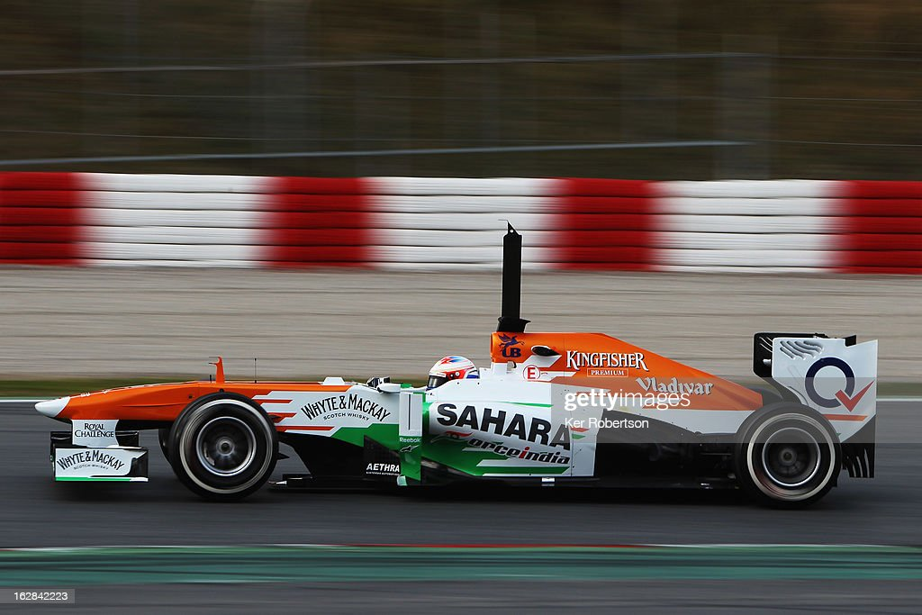Paul di Resta of Great Britain and Force India drives during day one of Formula One winter test at the Circuit de Catalunya on February 28, 2013 in Montmelo, Spain.