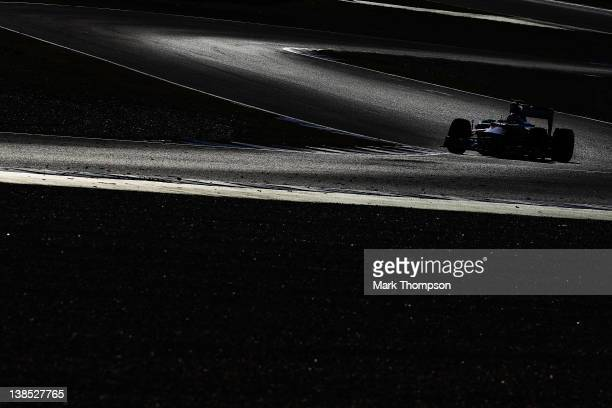 Paul di Resta of Great Britain and Force India drives during day two of Formula One winter testing at the Circuito de Jerez on February 8, 2012 in...