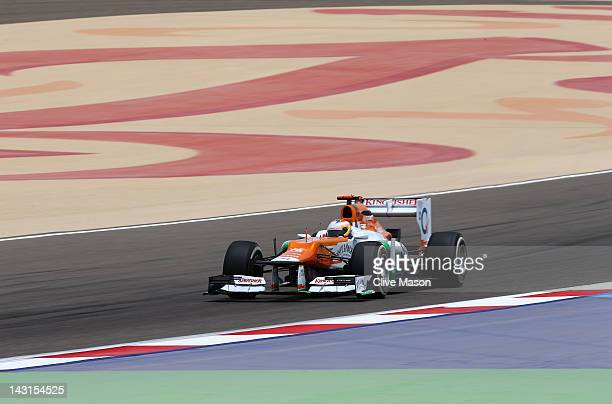 Paul di Resta of Great Britain and Force India drives during practice for the Bahrain Formula One Grand Prix at the Bahrain International Circuit on...