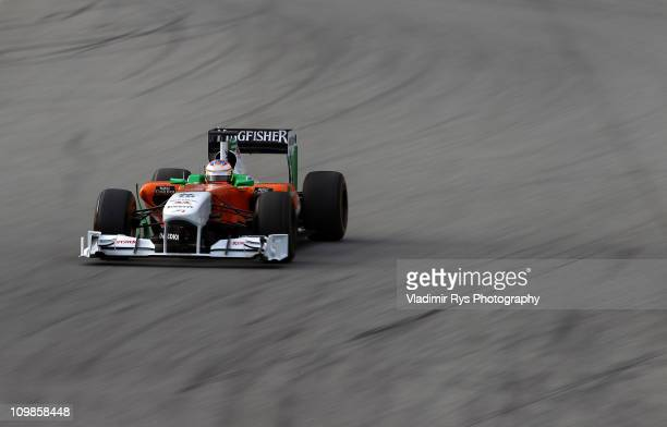 Paul di Resta of Great Britain and Force India drives during the Formula One testing at Circuit de Catalunya on March 8 2011 in Barcelona Spain