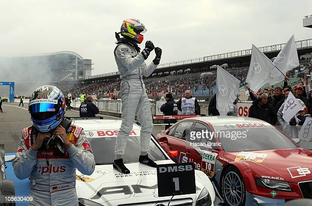 Paul Di Resta of Scotland and AMG Mercedes finishing 1st position celebrate after the ninth run of the DTM 2010 German Touring Car Championship on...