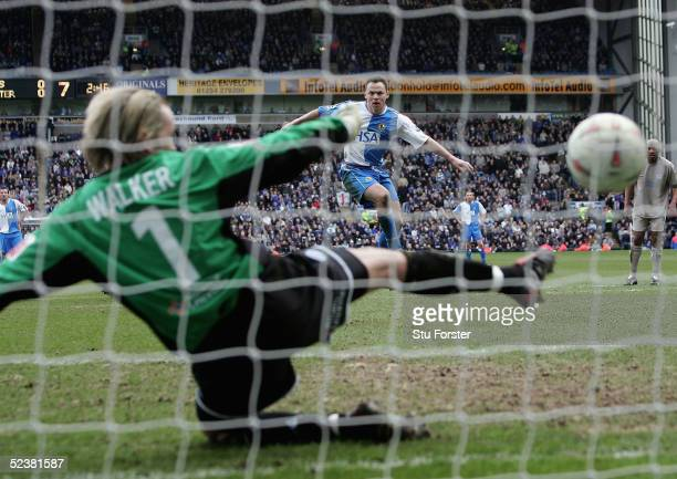 Paul Dickov of Blackburn scores the winning goal from the penalty spot during the 6th Round FA Cup match between Blackburn Rovers and Leicester City...
