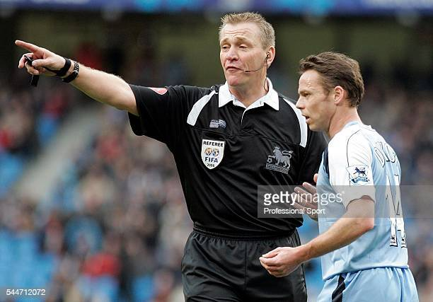 Paul Dickov of Manchester City and referee Graham Poll during the FA Premier League match between Manchester City and Newcastle United at the City of...