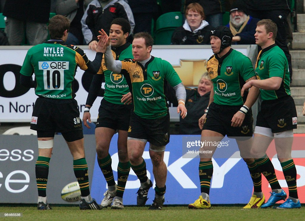 Paul Diggin of Northampton Saints celebrates scoring his try with team mate Stephen Myler during the LV Anglo Welsh Cup match between Northampton Saints and Leicester Tigers at the Sixfields Stadium, on February 6, 2010 in Northampton, England.