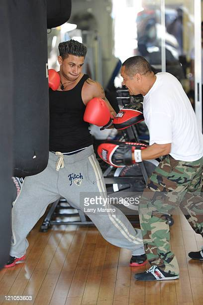 Paul DJ Pauly D Delvecchio is sighted training at the Gym on April 7, 2010 in Miami Beach, Florida.