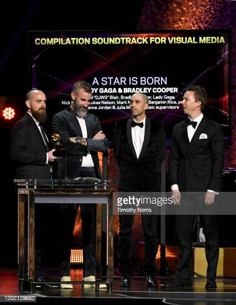 """Paul """"DJWS"""" Blair, Lukas Nelson, Mark Nilan Jr. And Benjamin Rice accepts the Best Compilation Soundtrack For Visual Media award for """"A Star is Born""""..."""